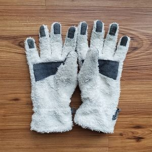 Lands' End White Fluffy Women's Gloves
